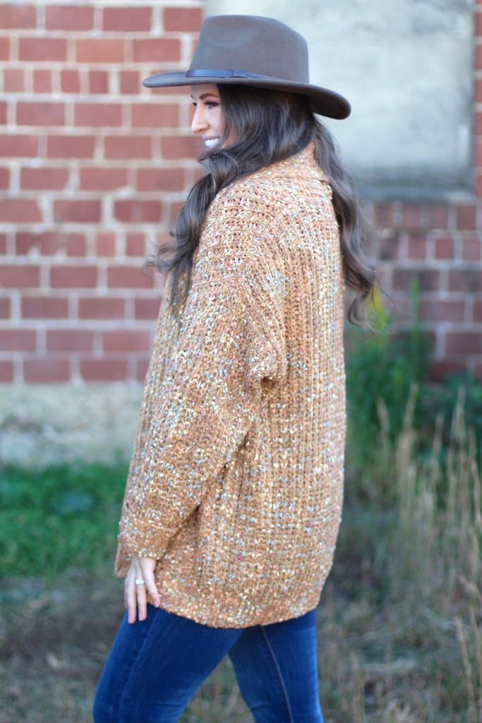 {Camel} Cold Weather Dreams Confetti Cardigan