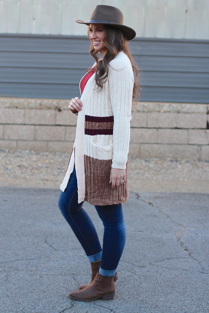 Glam Stripes Chenille Cardigan