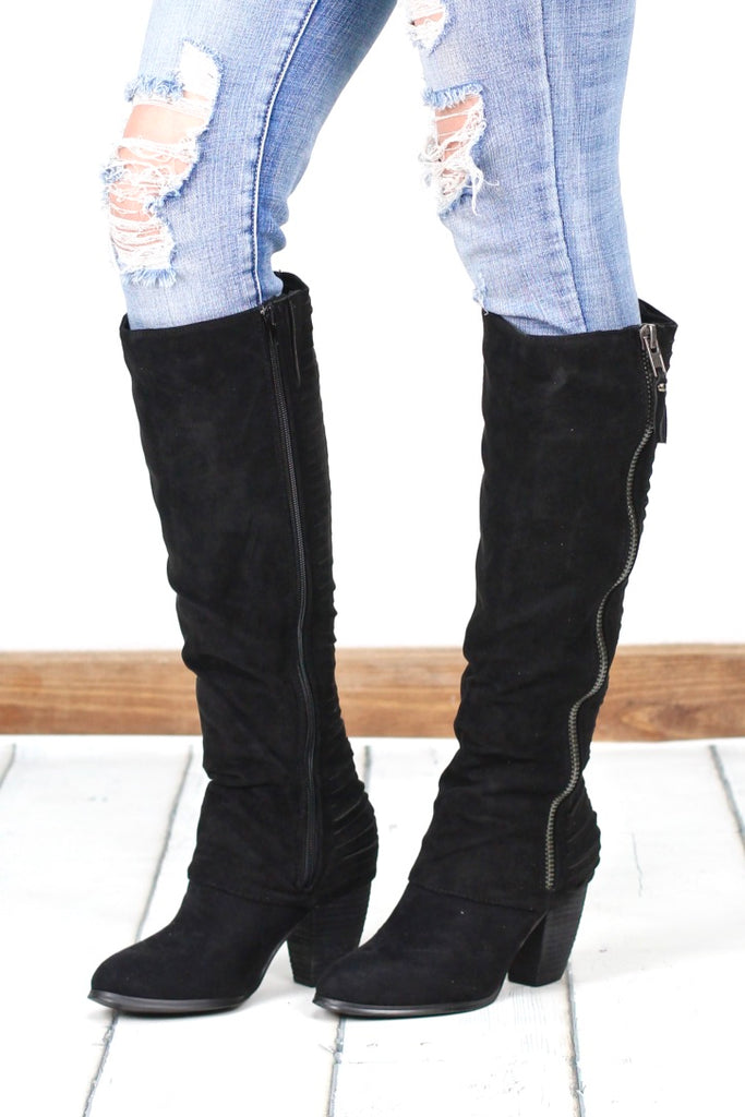 Very G: Very Strippy Heeled Suede Boot {Black}