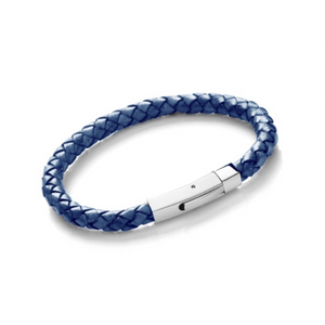 Stainless Steel Mens Navy Leather Bracelet