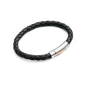 Stainless Steel Mens Black Leather Bracelet