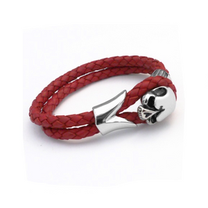 Stainless Steel Mens Red Skull Leather Bracelet