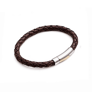 Stainless Steel Mens Brown Leather Bracelet