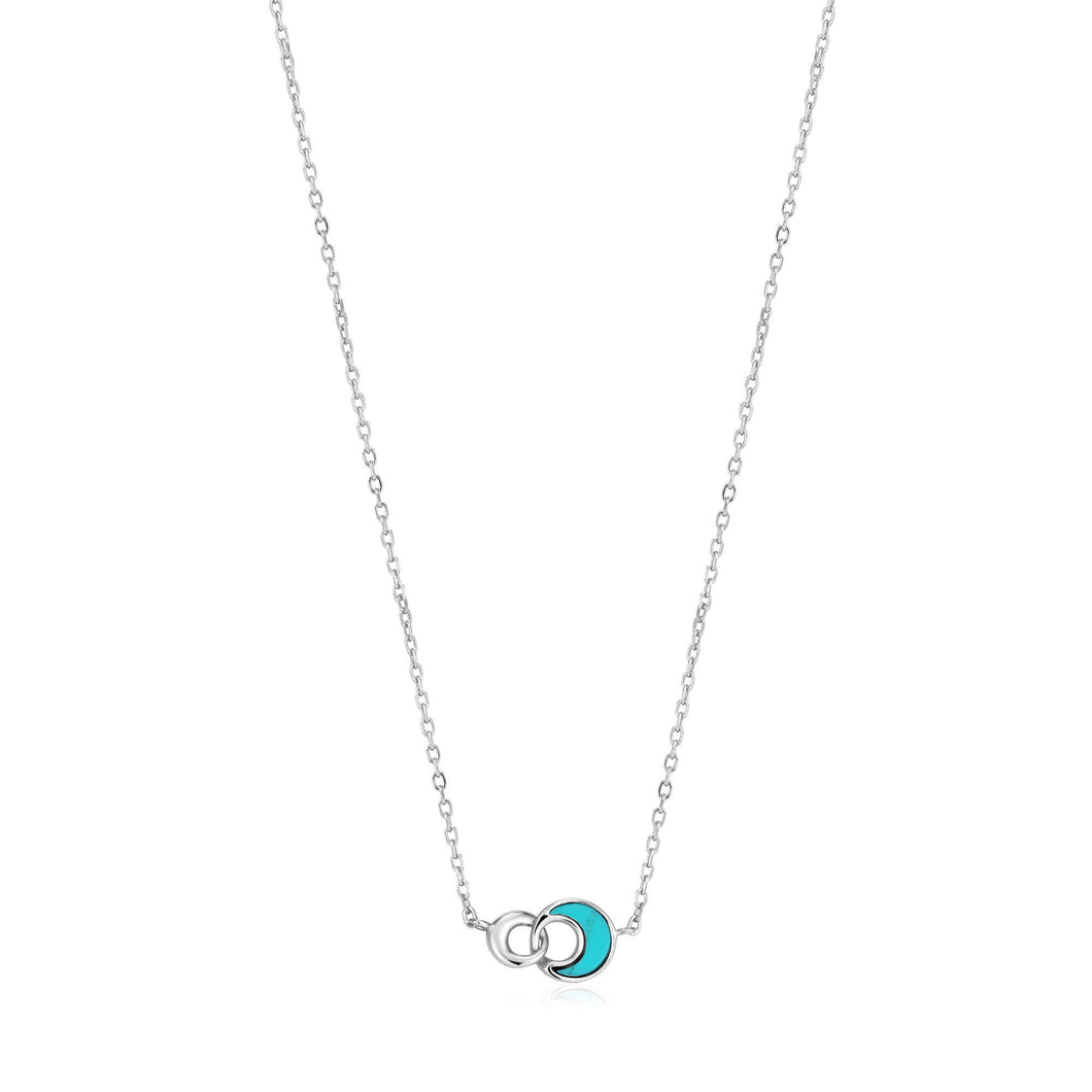 Silver Tidal Turquoise Crescent Link Necklace