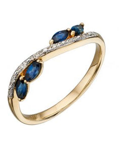 9ct Yellow Gold Diamond & Sapphire Marquise Ring