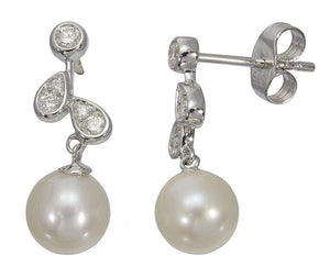 9ct White Gold Diamond & Pearl Earrings
