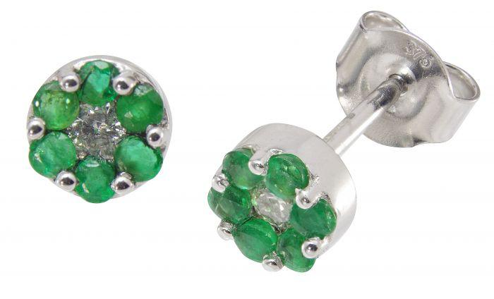 9ct White Gold Diamond & Emerald Earrings