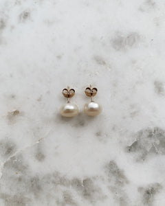 9ct White Gold, White Freshwater Pearl Earrings