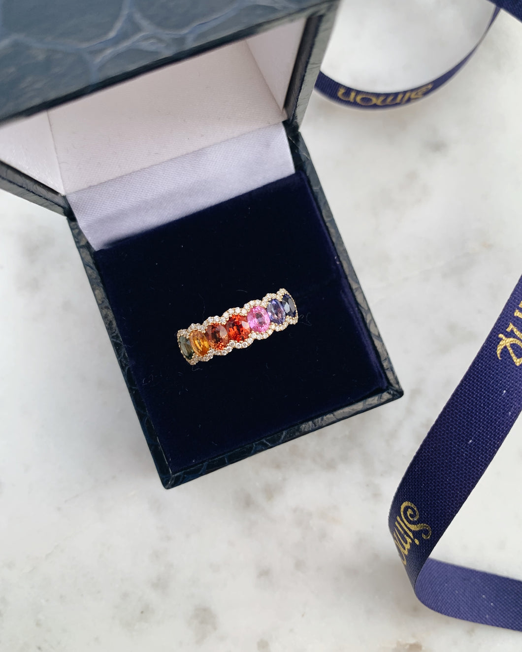 18ct Yellow Gold Multi Sapphire & Diamond Ring