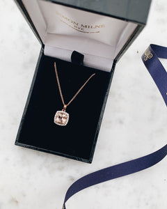 9ct Rose Gold Morganite & Diamond Pendant