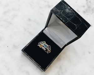 9ct White Gold Multi Gem Ring