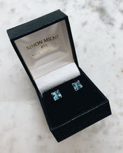 Load image into Gallery viewer, 9ct Yellow Gold Blue Topaz Earrings