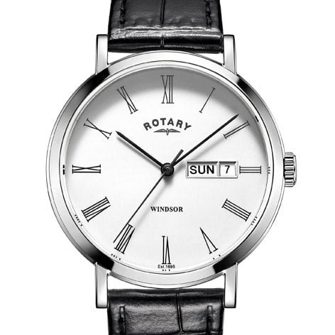 Rotary Windsor watch with Black Leather strap