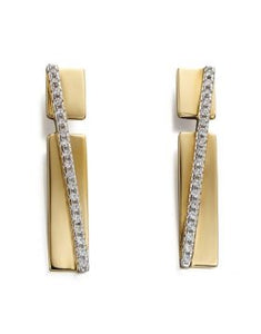 Fiorelli Gold Plated & Clear CZ Pave Band Drop Earrings