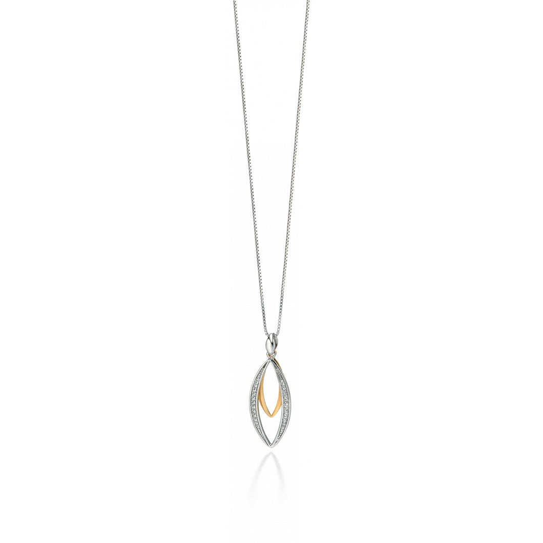 Fiorelli Silver And Gold Double Marquise Pendant With Cubic Zirconia Pave