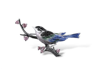 Sterling Silver Bird on Branch Enamel Brooch