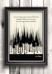 Inspirational Quote Art Poster, Literary Art - A. A. Milne Quote, Art Poster, Minimalist Black and White - Fine art letterpress poster