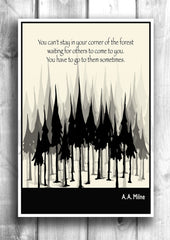 Literary Art - A. A. Milne Quote, Art Poster, Minimalist Black and White - Fine art letterpress poster