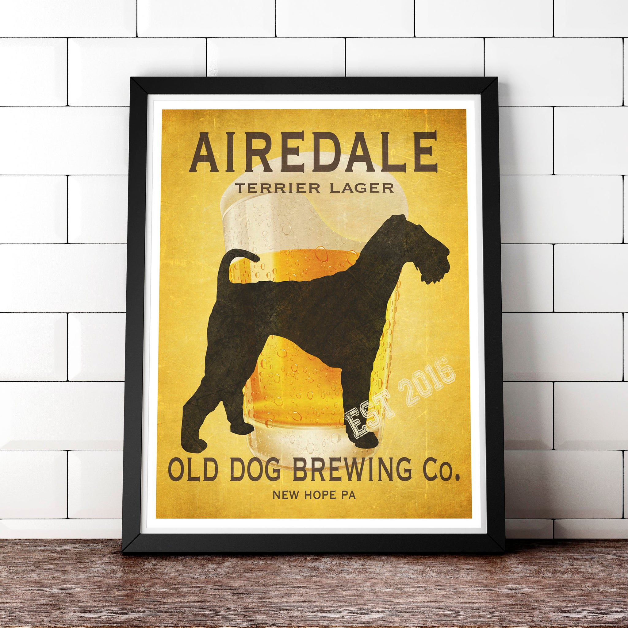 Airedale Art, Beer Print, Fully Customizable Old Dog Brewing Co.