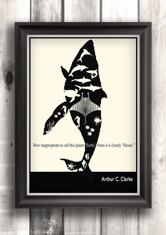 Literary Art - Arthur C. Clarke Quote, Minimalist Art Poster, Black and White - Fine art letterpress poster