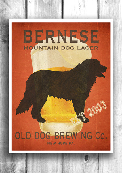 Customizable Bernese Mountain Dog Beer Print - Old Dog Brewing Co.