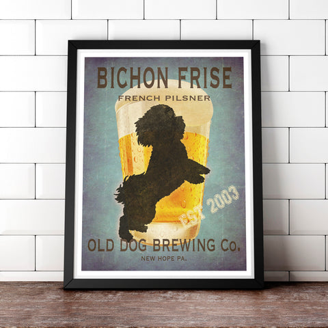 Bichon Frise Art, Beer Print, Fully Customizable Old Dog Brewing Co.