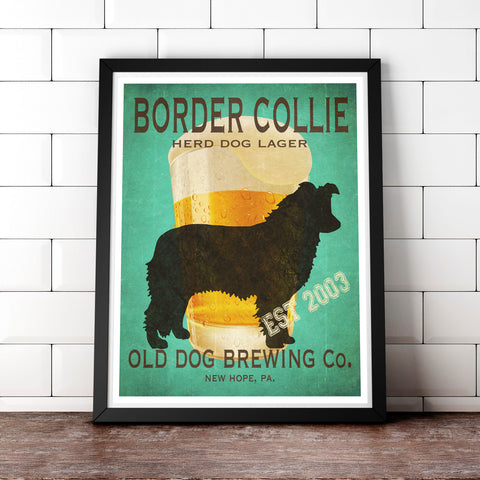 Border Collie Art, Beer Print, Fully Customizable Old Dog Brewing Co.