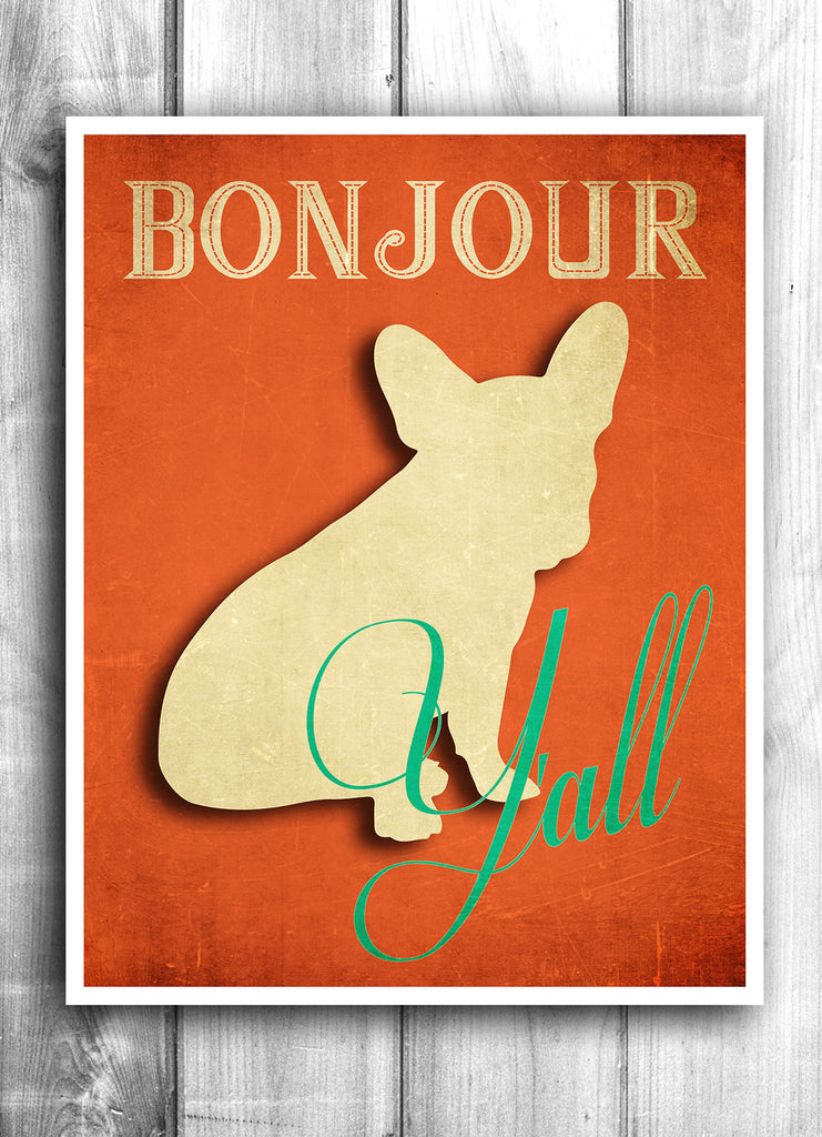 Bonjour Y'all - Fine Art Letterpress Poster - Show them you know your French. Sort of.
