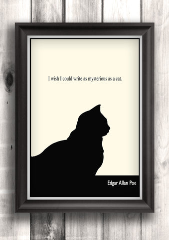 Literary Art - Edgar Allan Poe Quote, Minimalist Art Poster, Black and White - Fine art letterpress poster