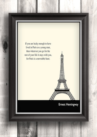 Literary Art - Ernest Hemingway Quote, Minimalist Art Poster, Black and White - Fine art letterpress poster