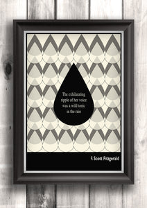 Literary Art - F. Scott Fitzgerald  Quote, Minimalist Art Poster, Black and White - Fine art letterpress poster