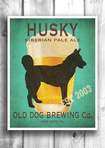 Customizable Siberian Husky Beer Print - Old Dog Brewing Co.