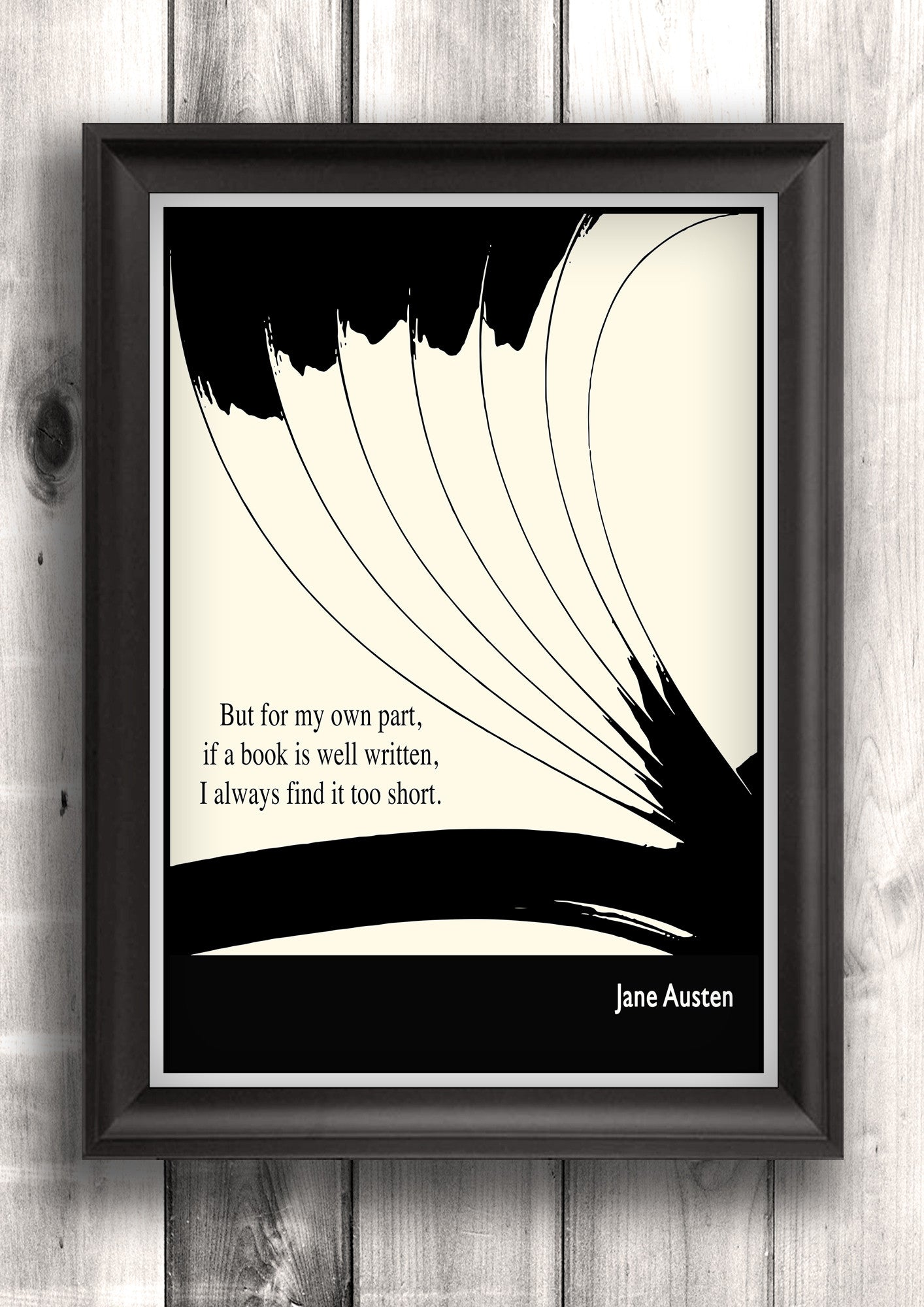 Literary Art - Jane Austen Quote, Art Poster, Minimalist Black and White - Fine art letterpress poster