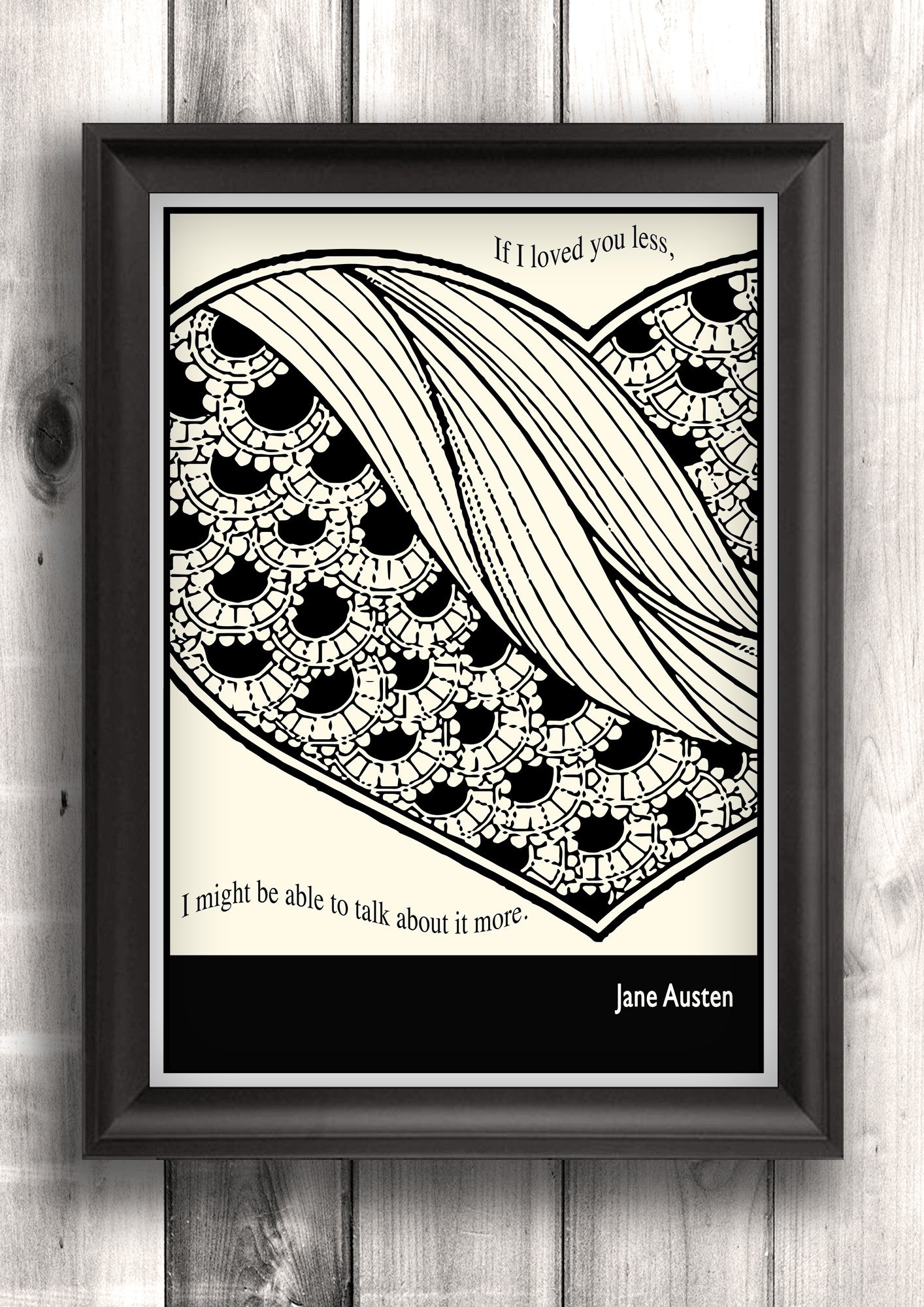 Literary Art - Jane Austen Quote, Minimalist Art Poster, Black and White - Fine art letterpress poster