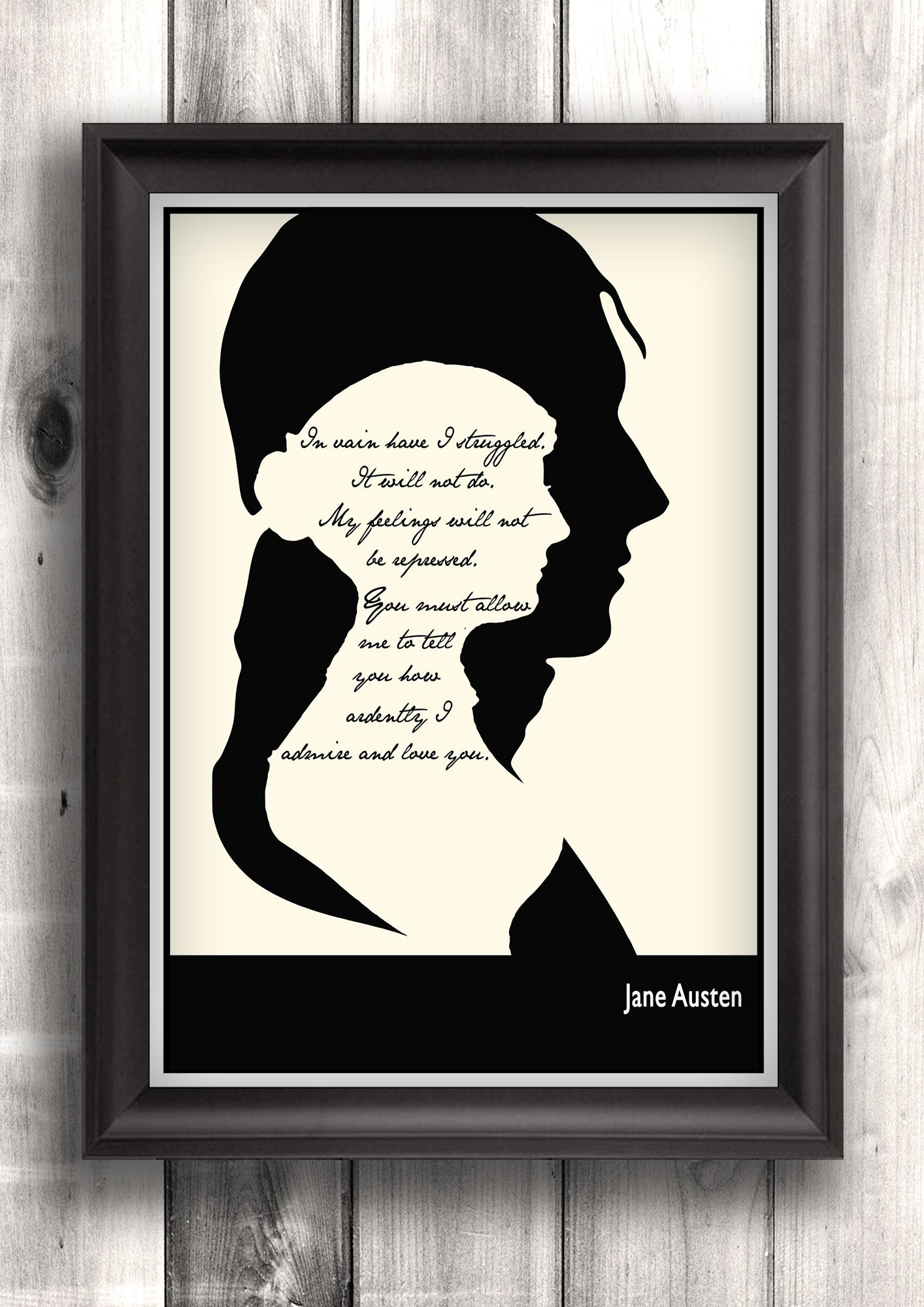 Literary Art - Jane Austen Quote, Darcy's Proposal Art Poster, Minimalist Black and White - Fine art letterpress print