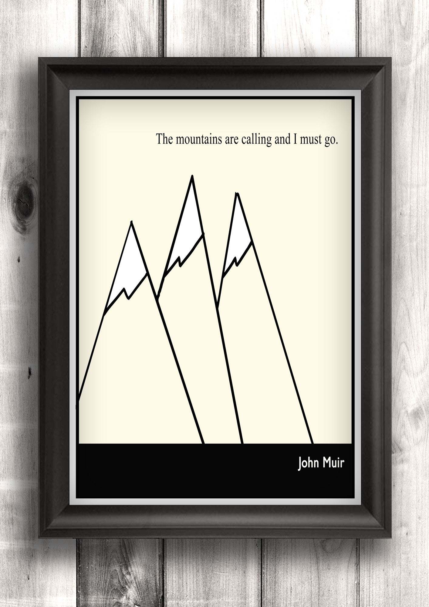 Literary Art - John Muir Quote, Minimalist Art Poster, Black and White - Fine art letterpress poster