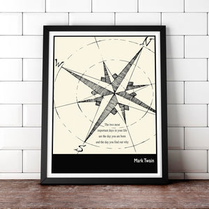 Literary Art - Mark Twain Quote, Art Poster, Minimalist Black and White - Fine art letterpress poster