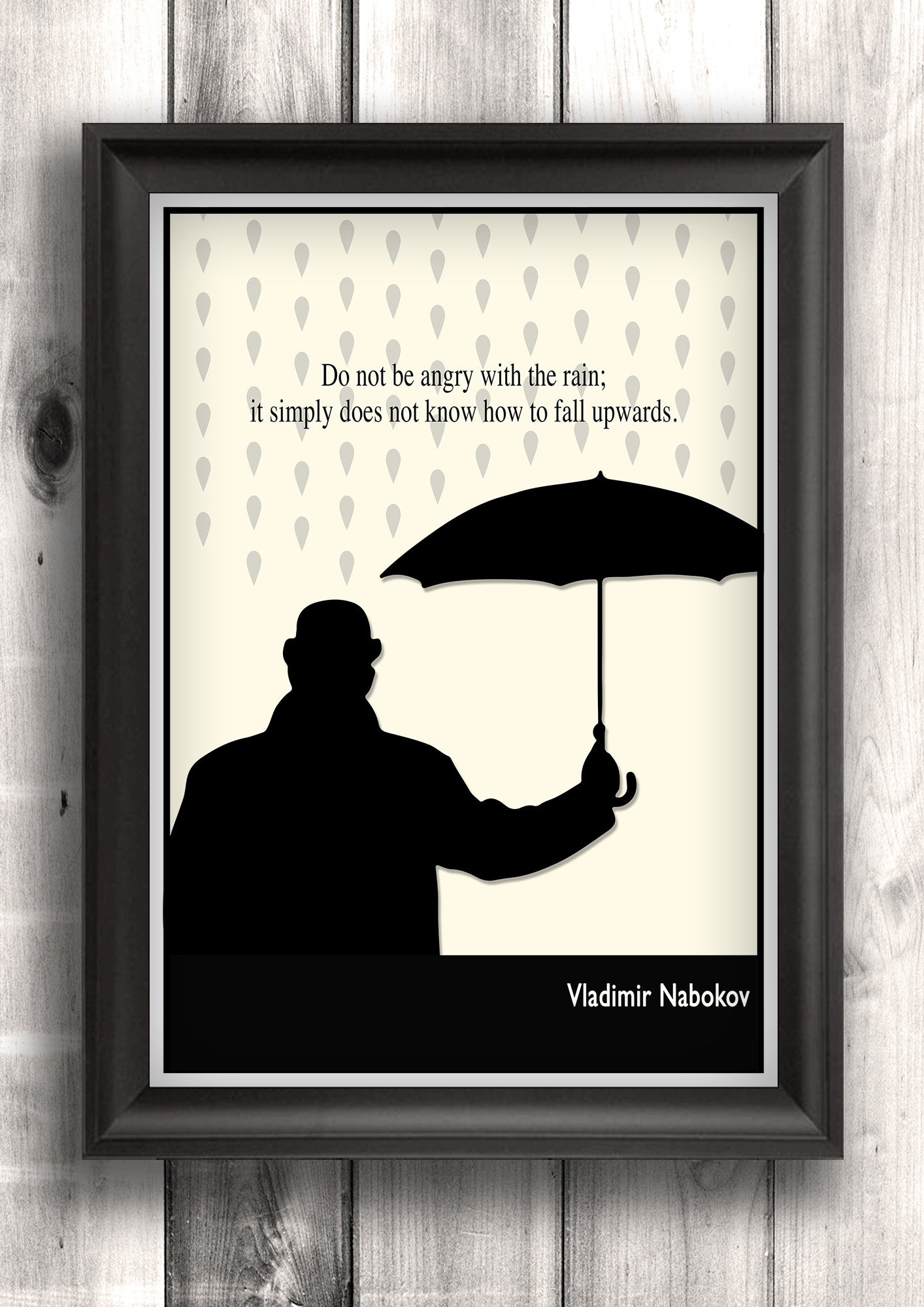 Literary Art - Nabokov Quote, Minimalist Art Poster, Black and White - Fine art letterpress poster