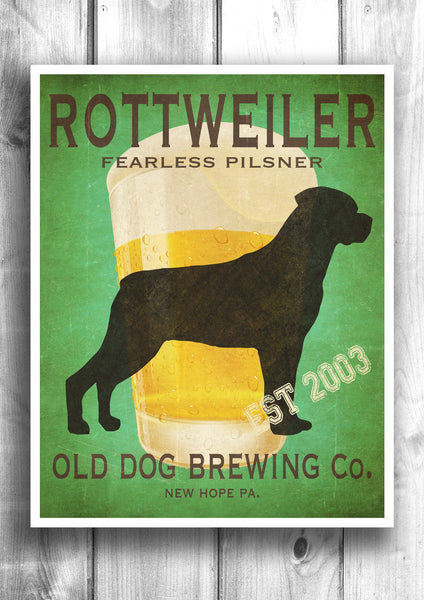 Customizable Rottweiler Beer Print - Old Dog Brewing Co.