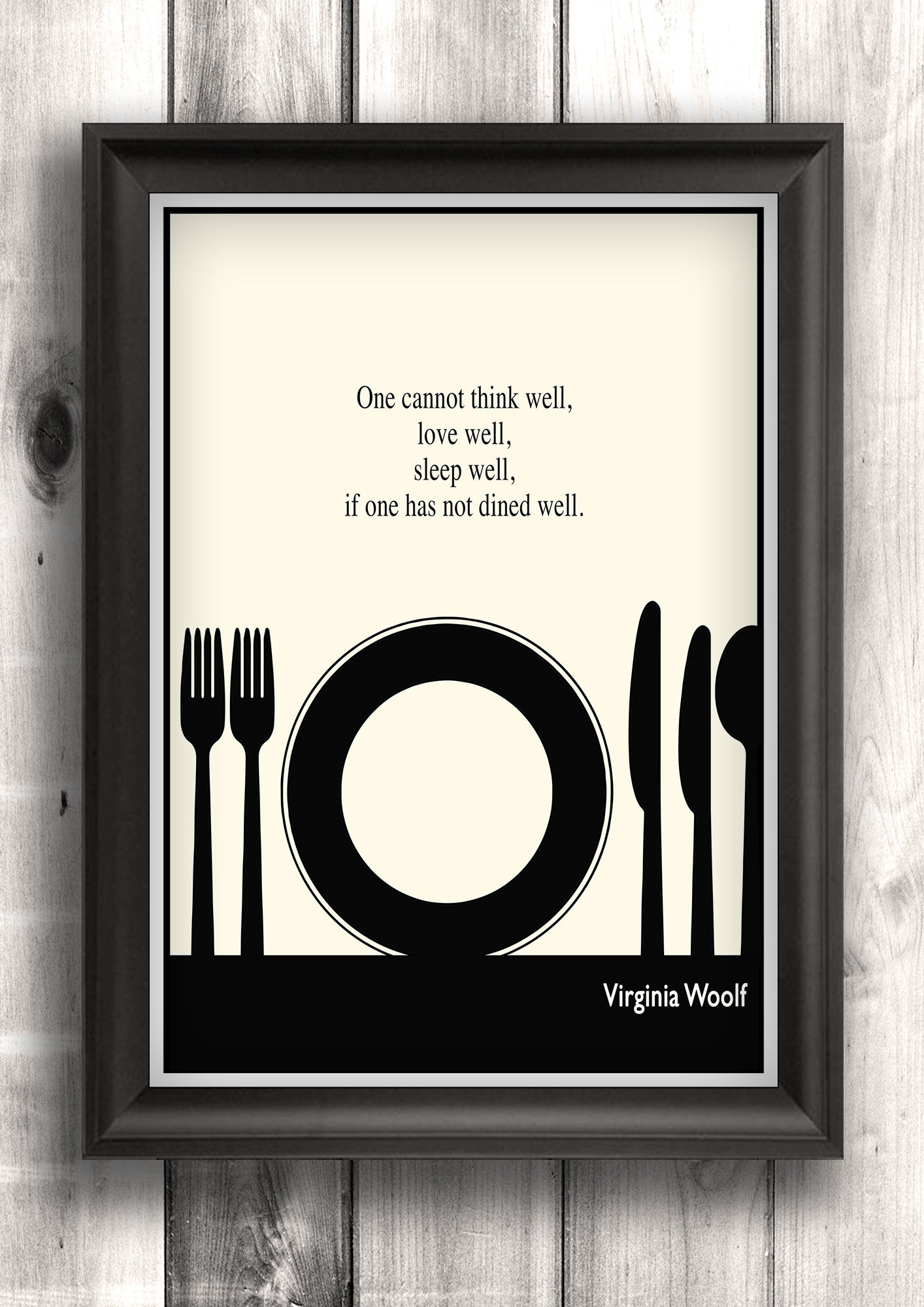 Literary Art - Virginia Woolf Quote, Minimalist Art Poster, Black and White - Fine art letterpress poster