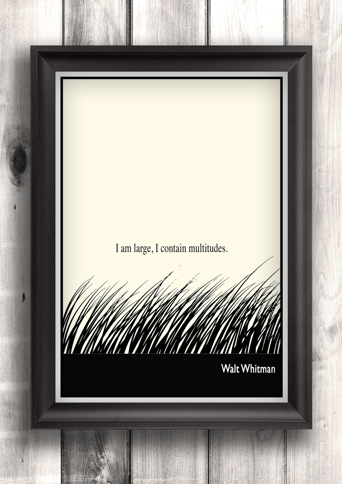 Literary Art - Walt Whitman Quote, Art Poster, Minimalist Black and White - Fine art letterpress poster
