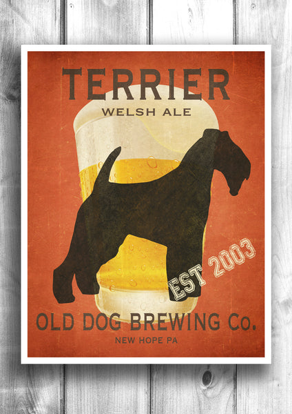 Customizable Welsh Terrier Beer Print - Old Dog Brewing Co.