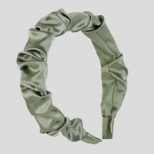 PISTACHIO SATIN RUCHED HEADBAND