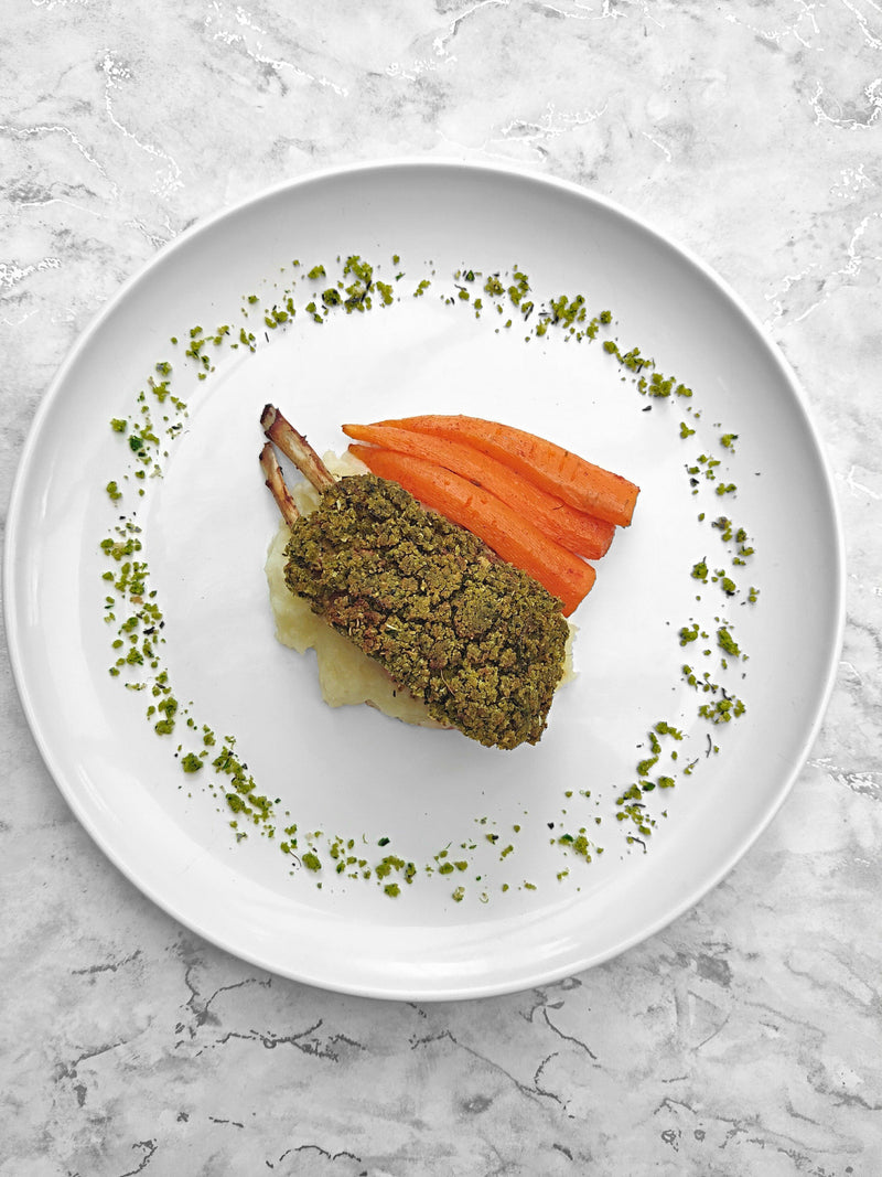 Herb Crusted Rack of Lamb with Garlic Mash and Paprika Carrots