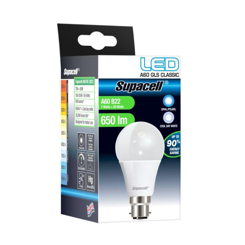 LED GLS Light Bulb - B22 Pearl 7W Cool White