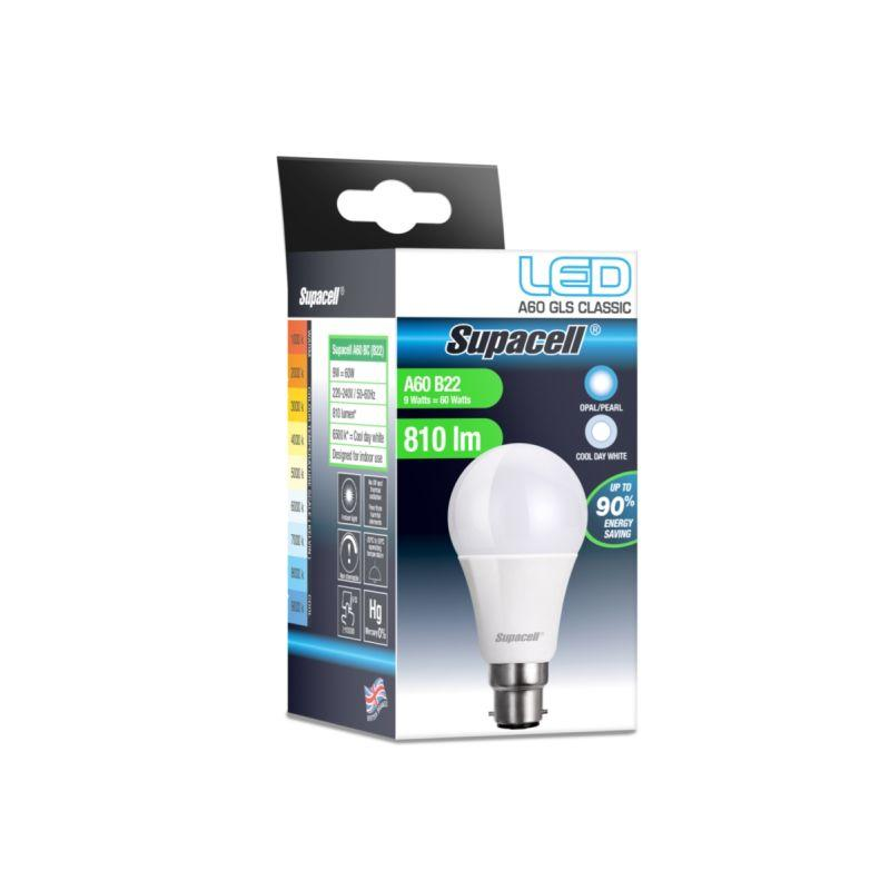 Supacell - LED GLS Light Bulb - B22 Pearl 9W Cool White
