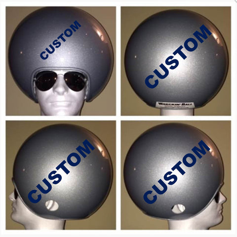 Three (3) Wreckin Ball Helmets with Custom Silver and Blue Paint (with Graphics)