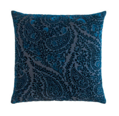 HENNA VELVET COBALT BLACK PILLOW