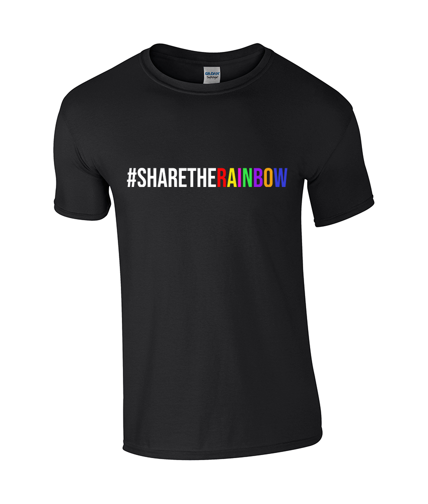 #ShareTheRainbow Classic Black T-Shirt - TeeJunkie - T-Shirts for Good Causes