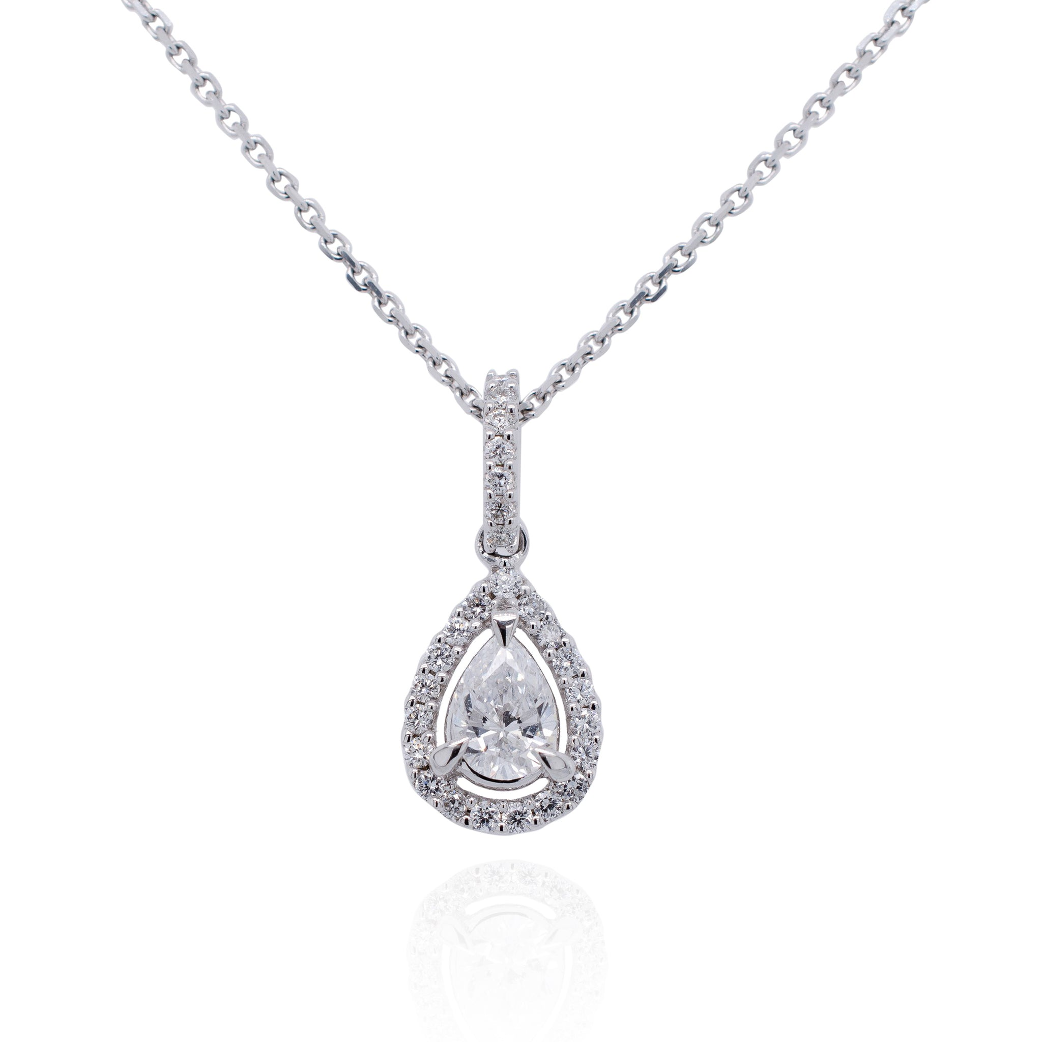 Pear Shape Diamond Halo Drop Necklace in 18ct White Gold